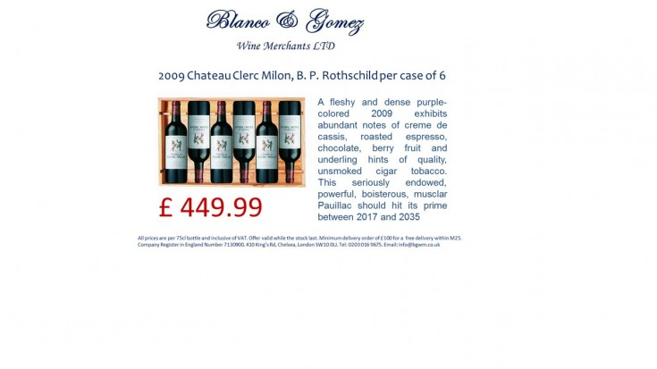 2009 Château Clerc Milon, B. P. Rothschild per case of 6